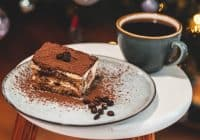 Panettone tiramisu with a cup of coffee